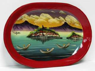 Hand Painted Crafted Asian Art Wall Hanging Wood Tray Wooden Japanese