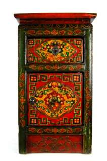 hand painted tibetan side stand this newly made pine wood side stand