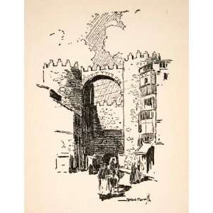 1928 Print Spain Gate Alcazar Caswell Avila Castile Leon