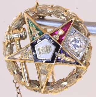 10k yellow gold .27cttw diamond masonic mason eastern star pin 4.5g