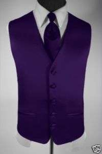 Mens Suit Tuxedo Vest Dress Vest Necktie Purple Medium