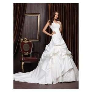 Ball Gown Sweetheart Chapel Train Satin Organza Wedding Dresses
