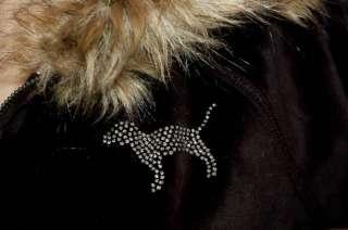 PINK Bling I Love UW WISCONSIN BADGERS Velour Fur Hoodie M