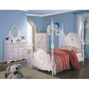 White Bedroom Set(Twin Bed, Nightstand, Dresser): Home & Kitchen