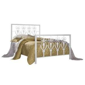 Glossy White Finish Full Size Bed w/ Frame: Furniture & Decor