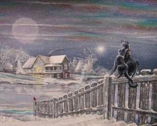 Folk Art Winter House Scene Fence Black Cats Beautiful Snow Scene