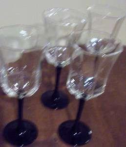 LUMINARC FRANCE BLACK STEM OCTAGON WINE GLASS SET OF 4 GLASSES