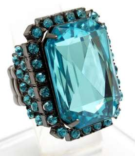 Large Emerald Cut Crystal Stretch Ring Blue HOT New