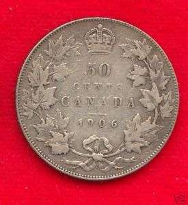 104) CANADA 1906 50 CENTS KING EDWARD VII FINE+