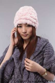 607 new real knitted rabbit fur 6 color hat/caps