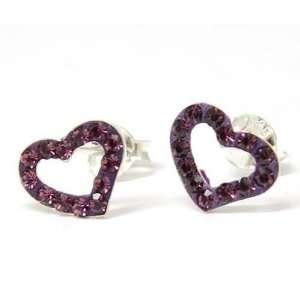 925 Silver Purple Crystal Open Heart Earrings by TOC Jewelry