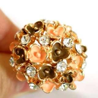 Flower 18K GP Gold Plated Gemstone Zirconia CZ Inlaid Adjustable Ring