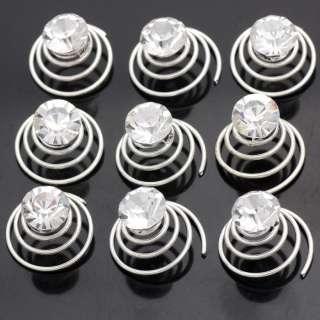 12pcs Wedding Clear Crystal Hair Twists Spins Pins 663