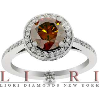 89 CARAT FANCY RED COGNAC DIAMOND ENGAGEMENT RING 14K GOLD VINTAGE