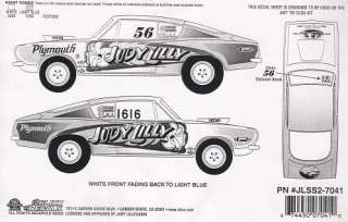 Judy Lilly 69 Plymouth Barracuda NHRA Decals Slixx 7041