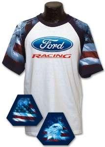 Ford Racing Deluxe American Flag Licensed Tshirt 7041