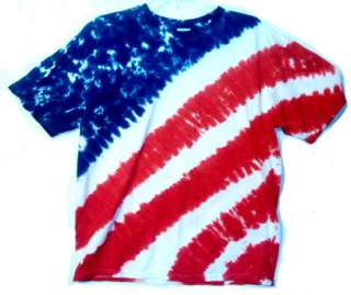 Red White & Blue AMERICAN FLAG Hand dyed TIE DYE T Shirt S M L 2X & 3X