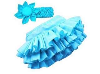 Girl Baby Clothing Ruffle Pants Bloomers Nappy Skirt+Headband Free