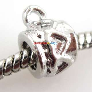 Wholesale Silver Tone Charms Bail Loop Charms Beads Fit European