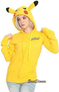 YELLOW POKEMON PIKACHU EARS TAIL HOODIE HOODED SWEATER SWEATSHIRT