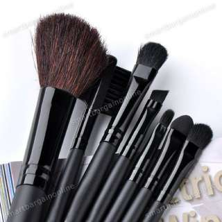 7x Pro Black Cosmetic Makeup Artist Brushes Set Tool With Pouch Bag