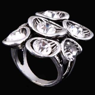 Vintage Silver Plated Flower Shape Ladys Finger Ring W/ White Crystal
