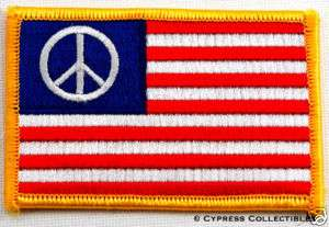 AMERICAN FLAG iron on PATCH PEACE SIGN ANTI WAR PROTEST