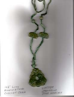 VINTAGE JADE KISSING ELEPHANTS NECKLACE VERY RARE HAND CARVED