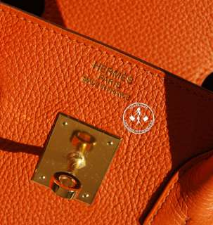 35 HERMES BIRKIN BAG l ORANGE TOGO LEATHER  GOLD  #9629