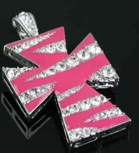 Western Hot Pink Zebra Rhinestone Cross Cowgirl Pendant