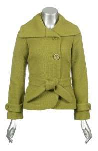 Sutton Studio Womens Wool Fabric Tie Belt Basketweave Jacket Coat