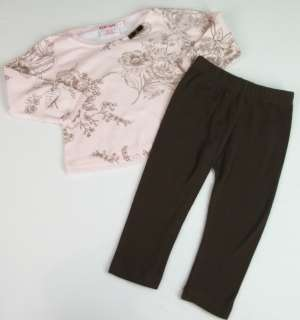 Baby Nay Pink Brown Pants Shirt Flower Set SZ 2T 2 T