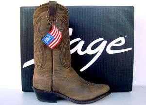 Abilene Sage Mens Brown Longhorn Cowhide Cowboy Boots