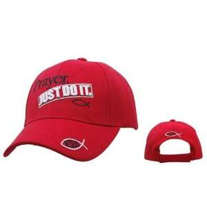 PRAYER, JUST DO IT Red Christian Baseball Cap / Adjustable Hat with