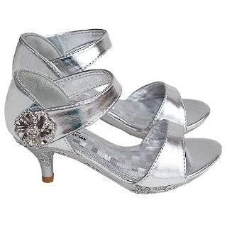 Girls Silver Sparkle Rhinestone Detail Open Toe Kitten