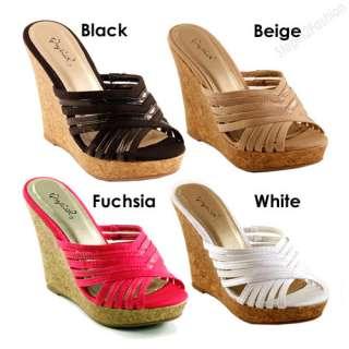 New Women Sandals Beige, Black, White, Fuchsia Wedge Heel Sandal All