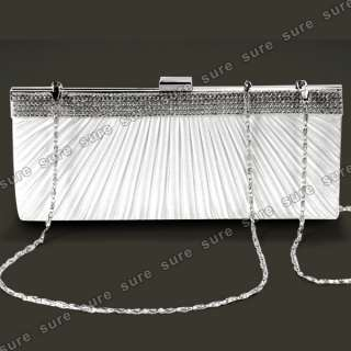SATIN CRYSTAL DIAMANTE EVENING CLUTCH PURSE BRIDAL PROM BAG