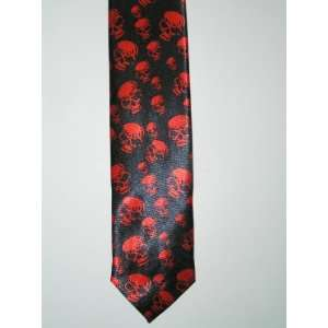 red skulls necktie halloween tie scary skeleton head