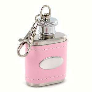Personalized Pink Genuine Leather Key Chain Flask Free Engraving