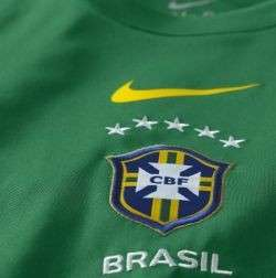 Nikes BRAZIL short sleeve Pre Match Training jersey for WC 2010