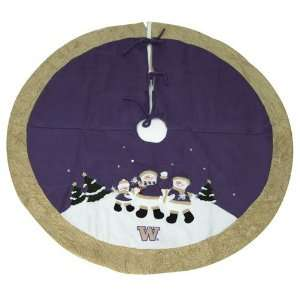 BSS   Washington Huskies NCAA Snowman Holiday Tree Skirt
