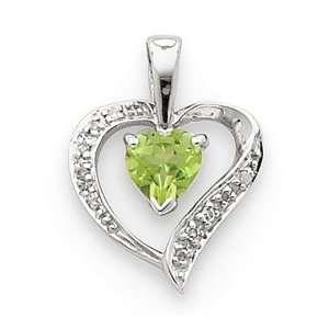 Sterling Silver Rhodium Heart Peridot & Diamond Heart Pendant Jewelry