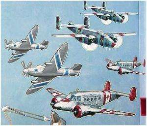 Wallies Big Murals AIRPLANES Military style cutout