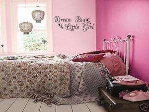 DREAM BIG LITTLE GIRL Girls Bedroom Wall Art Decal