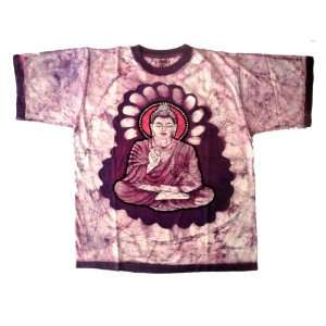 Indian God Lord Buddha Batik Print Art Ethnic Hippie Unisex Tees Short
