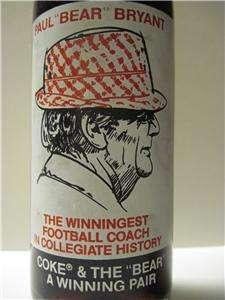 ALABAMA CRIMSON TIDE PAUL BEAR BRYANT COKE BOTTLE