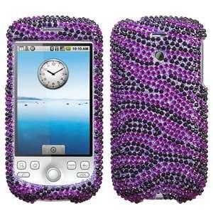 Purple Zebra Skin Diamante Crystal Jewel Phone Case for T