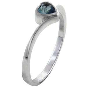 Heart Cut Aquamarines Promise Ring   Sterling Silver Cz