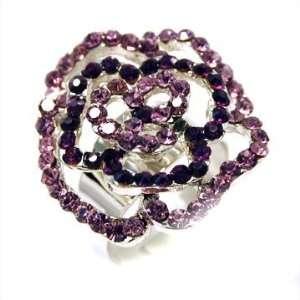 Purple crystal flower ring rose outline with adjustable