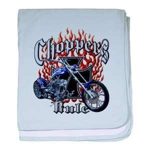 Sky Blue Choppers Rule Flaming Motorcycle and Iron Cross Everything